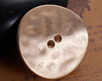 5 Large Antique Gold Button - Hammered Domed Metal - 2 Holes - 30mm (1.2 inches) - Goldtone Button Sewing Metal Buttons B0082262