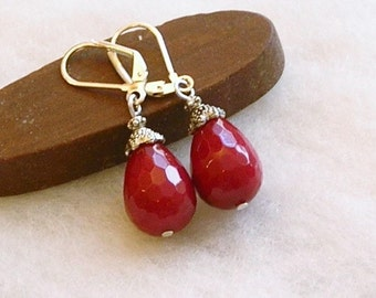 "Red Rust Jade teardrops faceted semi  precious gemstone  1 5/8"" long silver plated  dangle drop  lever back earrings Autumn Fall Fashions"