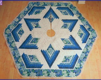 Quilted Christmas Tree Skirt Quilt Blue Poinsettia 192