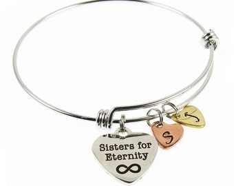 Soul Sisters - Sisters for Eternity - Infinity Hand Stamped Heart Initial Charm Bracelets - Gifts for Her - Sisters Jewelry - Family Tree