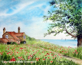 Signed Limited Edition Print of Poppy Field - Landscape Watercolour Painting, Fine Art, Yorkshire Coast Watercolor Painting, Coastal Art