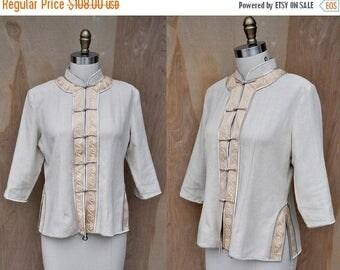 30% OFF SALE Salvatore Ferragamo Asian Blazer Jacket High End Italian Designer Oriental Frog Closure Mandarin Korean Neck size S -M