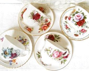 4 mismatched floral teacups and saucers vintage tea cups high tea bridal shower tea set floral teacup  mix 10