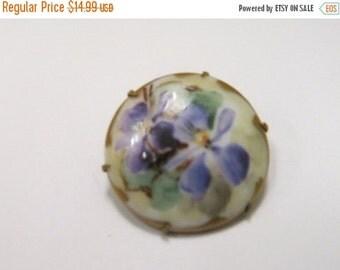 On Sale Vintage Hand Painted Purple Flower Pin Item K # 2089