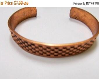 On Sale Vintage Textured Copper Cuff Bracelet Item K # 2135
