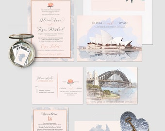 Destination wedding invitation Australia Sydney Oceania illustrated wedding invitation Deposit Payment