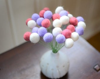 Felt Ball Flower Bouquet - Candy Hearts (bright pink, purple, white) 2cm wool felted ball craspedia, billy ball buttons, valentines day gift