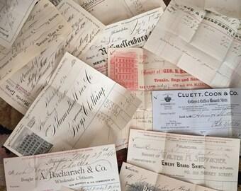 ANTIQUE Billheads Antique Receipts 19th Century EPHEMERA Fancy Billheads 16 Pieces  Trunks Hats Clothing Movie Props 1880s 1890s