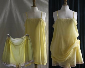 VINTAGE 1920's Lingerie Set, slip and short, rayon & lace, light yellow