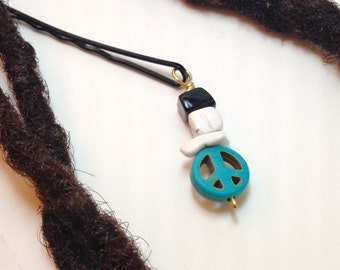 Turquoise Peace Sign White Howlite Onxy Hair Pin Bead Jewelry Locs, Dreadlocks, Braids and Twists