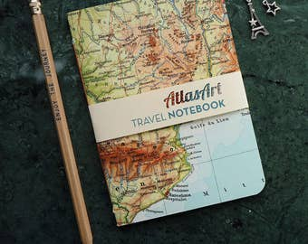 NOTEBOOK SMALL, France, Spain,Barcelona, 4x5,8inch, 32 p., plain/ruled, travel journal, diary, atlas, map, vintage, upcycling