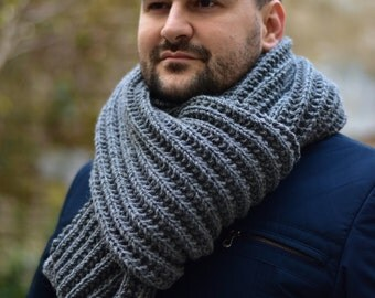 Extra Long Mens Scarf Grey Chunky Wool Scarf. Hand Knit Scarf. Winter Scarf. Mens Scarves. Gift For Him. Men's Accessories.