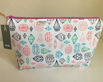 Makeup Bag, Diamonds  -- Zipper Cosmetic Bag