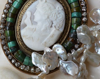 Antique Diana Goddess Carved Shell Cameo Art Deco Rhinestone Buckle Turquoise Keishi Pearl Necklace