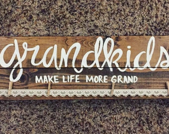 Grandkids make life more grand wood sign with lace and clothespins -hang pictures - picture frame - grandparents gift - rustic home decor