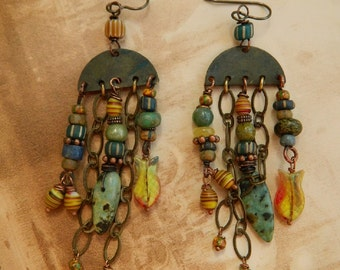 Rustic tribal Boho Chandelier/dangle  earrings Gypsy ,trade beads , Nobium,Czech fish beads Natural Turquoise Gemstone  Earrings