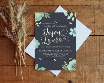 Wedding Invitation Wedding Invitation Set Floral Wedding Navy Wedding Navy And Mint
