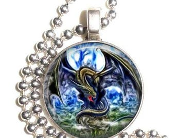 Black and Green Dragon Altered Art Photo Pendant, Earrings and/or Keychain Round, Silver and Resin Charm Jewelry