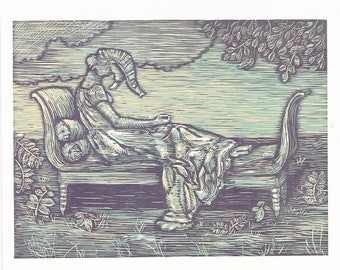 Hand pulled 3 color woodcut print