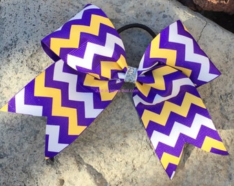"2.25"" x 6"" x 6"" Cheer Bow Purple, Gold and White Chevron"
