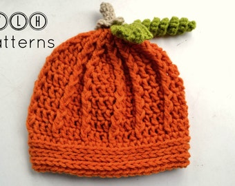 Crochet pumpkin hat pattern, crochet hat pattern, pumpkin hat, 4 sizes - 6-12 months, toddler, child and adult, Pattern No. 23
