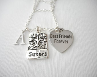Sisters, Best Friends Forever- Initial Necklace/ Sisters Jewelry, Sibling, inspiration, sisterly love, love for sister, Gift for Sister