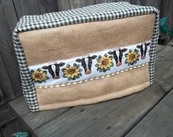 Cow Sunflower Toaster Cover Burlap Pigs Corn Country Lined
