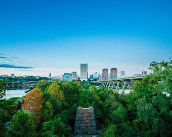 SALE Manchester Climbing Wall Richmond Virginia Landscape, River City Skyline on James River 8x10 Photo Art, Framed Photography Option