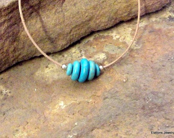 Free Shipping! Turquoise Dyed Magnasite Roundel Beehive Floating Bead Necklace- Sterling Silver with Choice of Cord Color and Length
