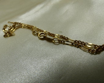 14kt gold Rolo Chain Bracelet-6.5 inches-1.2 grms- 3mm wide-snap ring-hallmarked -1833