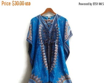 SALE Ble Dashiki Dress Bell Sleeves Made in India Polyester S M L