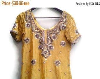 SALE Indian Dress Beading Mustard Gypsy Boho S M