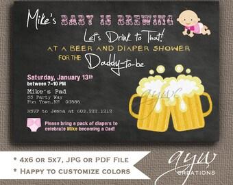 Beer and Diaper Shower Invitation Girl Man Shower Man Diaper Party Chalkboard Invites Girl Invitations Beer and Diaper Party Man Shower
