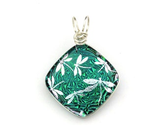Wire Wrapped Dichroic Glass Pendant in Emerald Blue Green with Silver Dragonflies
