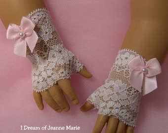FINGERLESS LACE GLOVES for American Girl Dolls White with Pink Satin Bows Caroline Cecile Elizabeth Felicity