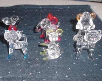 SIX LUCITE ANIMALS 1960's Vintage Collectibles  Dog, Cats, Elephant, Mouse, Bear  So Cute