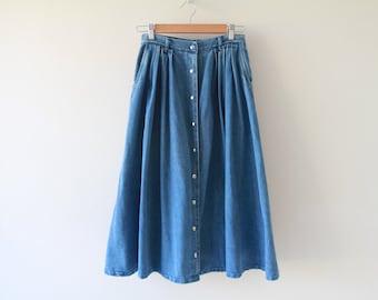 Vintage Denim Snap Front Midi Skirt / 1980s Pocket Paper Bag Skirt / Blue Jean Skirt