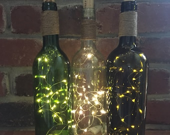 Firefly Wine Bottle with Jute accent