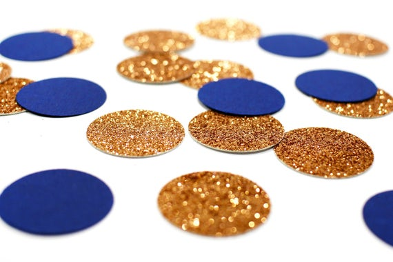 "Copper Glitter + Blue Circle Confetti - 1"" - Wedding. Bachelorette Party. Bridal Shower. Baby Shower. Engagement. First Birthday."