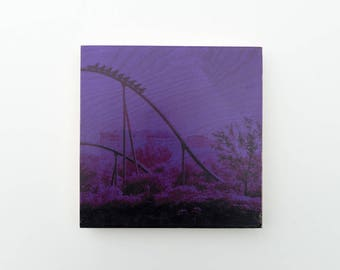 "Roller Coaster, Photo Art Block, 'Joy Ride #3 (Purple)' Limited Edition Image Transfer on 12""x12"" Wood Panel by Patrick Lajoie, carnival"