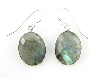 Bezel Gemstone Oval Pendant Earrings -Sterling Silver Bezel Gem and Hooks- Labradorite Earrings -Oval Gemstone Earrings-640112-LAB