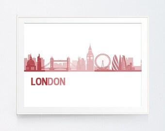 London Skyline, Red Print, London Wall art, Dark Red Skyline, Maroon London Skyline, Red Skyline, England Skyline, INSTANT DOWNLOAD