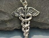 Sterling Silver Medical Staff Charm