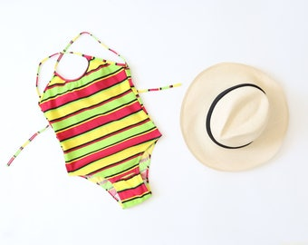 Vtg 80s NEON striped one piece swimsuit bathing suit XS
