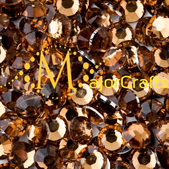 Topaz Brown Flat Back Round Resin Rhinestones Embellishment Gems C27
