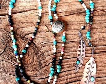 Necklace Turquoise and Copper Feather Gemstone Beaded Necklace