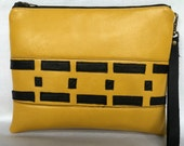 Clutch Bag, Leather Bag, Yellow Black Clutch, Geometric Leather Purse, Leather Wristlet, Black Clutch, Purse with Pockets