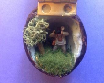 Miniature Photographer in a Walnut Shell Diorama Folk Art