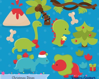 INSTANT DOWNLOAD - Christmas Dinosaur Clipart and Christmas Vectors for personal and commercial use