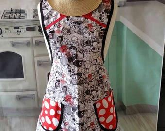 Vintage soup ad red black retro style woman's apron